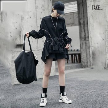 New Fashion Style Wide Leg shorts Three Piece Suit Black Loose Fit Fashion Tide Fashion Nova Clothing TAKE IMAGE
