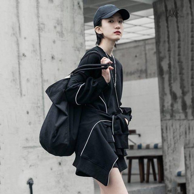 New Fashion Style Wide Leg shorts Three Piece Suit Black Loose Fit Fashion Tide Fashion Nova Clothing TAKE IMAGE