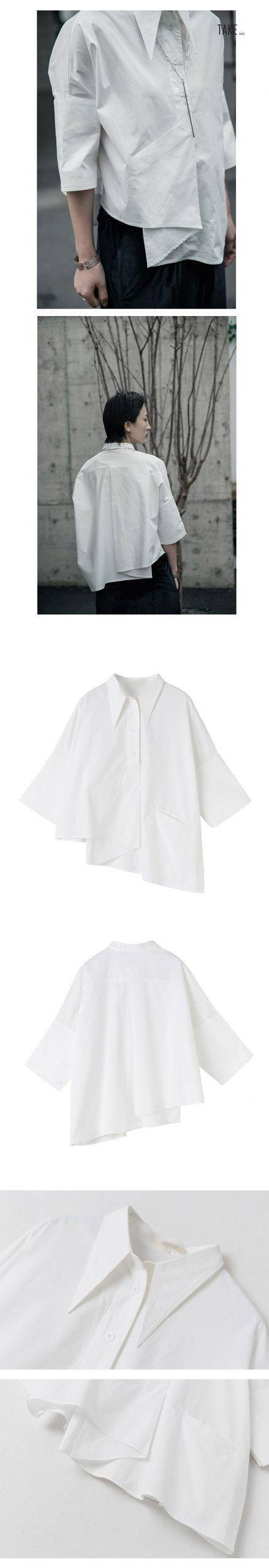 New Fashion Style White Asymmetrical Big Size Blouse Fashion Nova Clothing