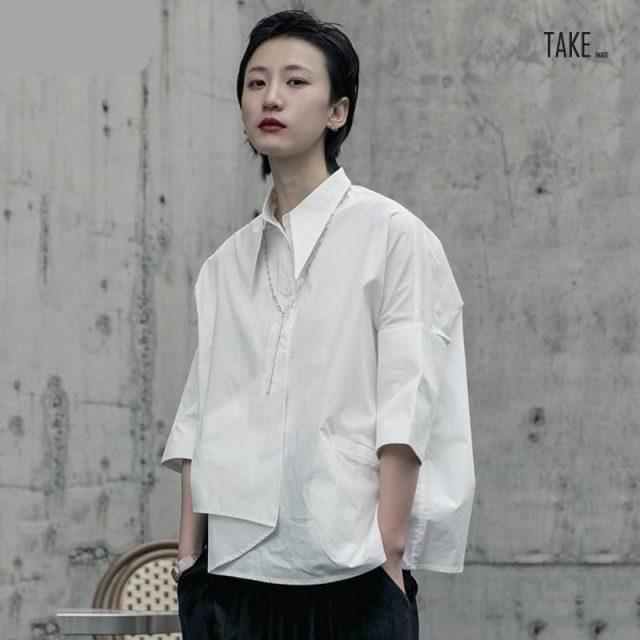 New Fashion Style White Asymmetrical Big Size Blouse Fashion Nova Clothing TAKE IMAGE