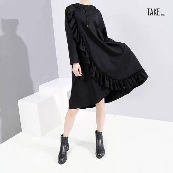 New Fashion Style Black Ruffles Split Big Size Dress Fashion Nova Clothing TAKE IMAGE