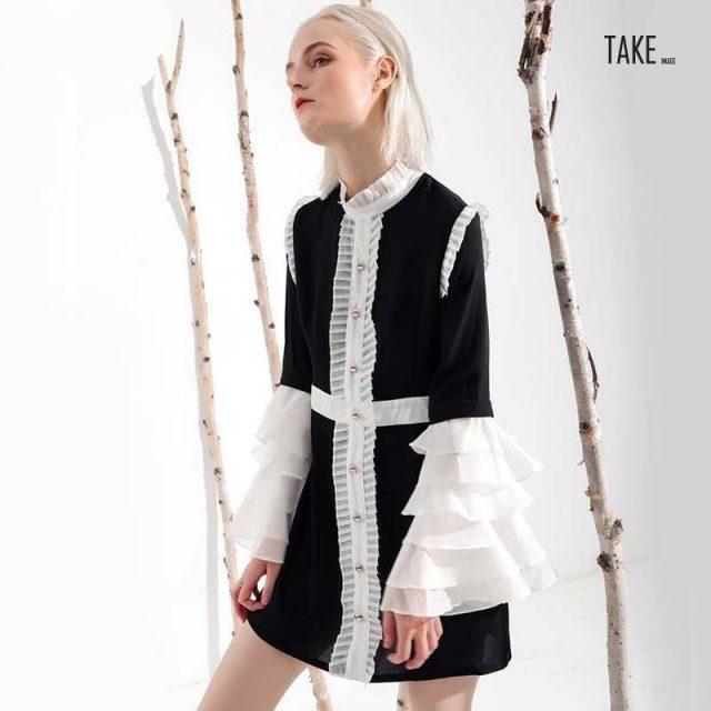 New Fashion Style Ruffled Collar Long Flare Sleeve Hit Color Dress Fashion Style Clothing TAKE IMAGE