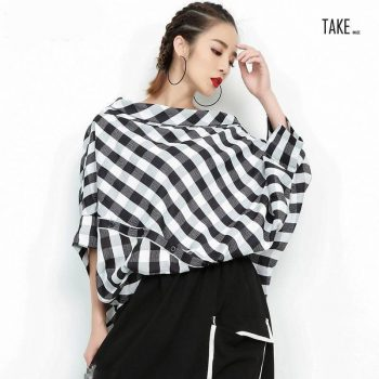 New Fashion Style Slash Neck Three-quarter Sleeve Plaid Split Joint Shirt Blouse Fashion Nova Clothing TAKE IMAGE