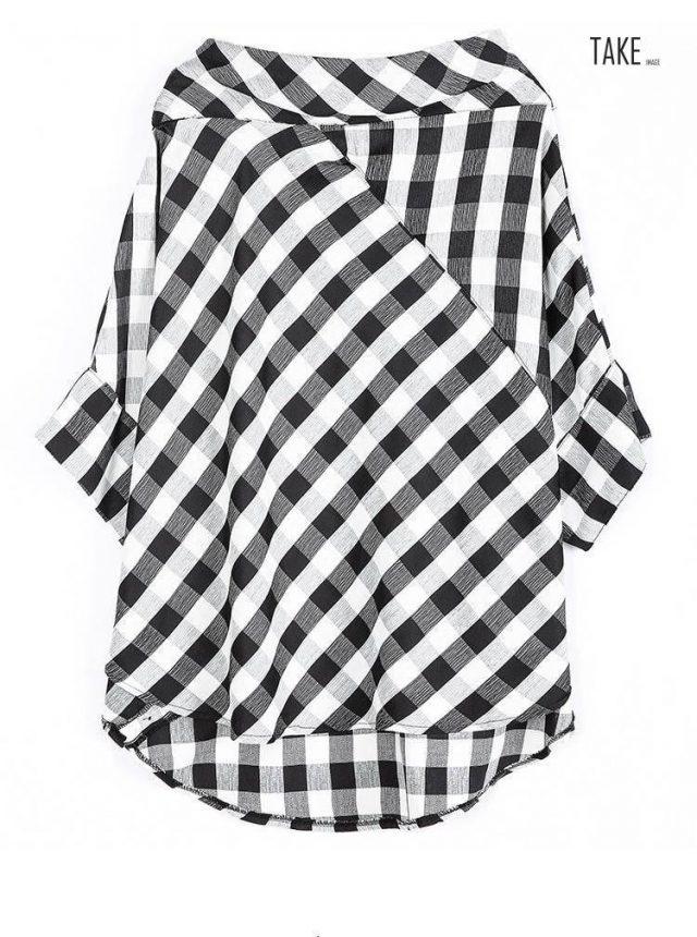 New Fashion Style Slash Neck Three-quarter Sleeve Plaid Split Joint Shirt Blouse Fashion Nova Clothing TAKE IMAGE