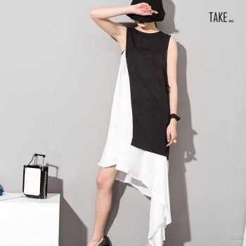 New Fashion Style Stylish New Black White Hit Color Asymmetrical Dress Fashion Nova Clothing TAKE IMAGE