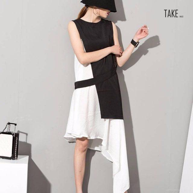 New Fashion Style Stylish New Black White Hit Color Asymmetrical Dress Fashion Nova Clothing TAKE IMAGE