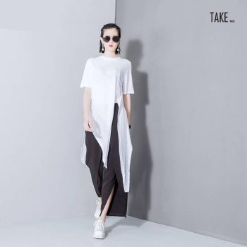 New Fashion Style Asymmetrical Vent Long T-Shirt Fashion Nova Clothing TAKE IMAGE