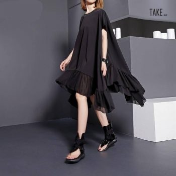 New Fashion Style Black Split Joint Loose Big Size Dress Fashion Nova Clothing TAKE IMAGE