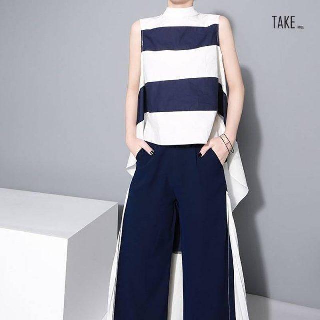 New Fashion Style Blue Striped Big Hem Irregular Loose Shirt Blouse Fashion Nova Clothing TAKE IMAGE
