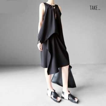 New Fashion Style Black Irregular Hem Brief Loose Dress Fashion Nova Clothing TAKE IMAGE