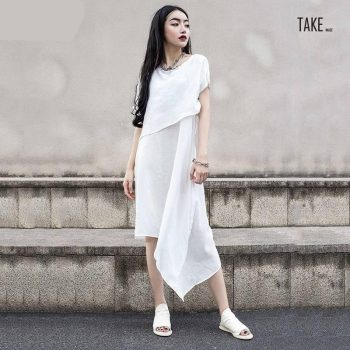 New Fashion Style Short Sleeve Irregular Hem Thin Two Piece Dress Fashion Nova Clothing TAKE IMAGE