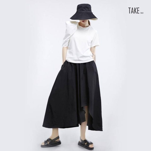 New Fashion Style White Loose Pleated Three-dimensional Loose T-Shirt Fashion Nova Clothing TAKE IMAGE