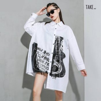New Fashion Style White Pattern Printed Big Size Long Blouse Fashion Nova Clothing TAKE IMAGE