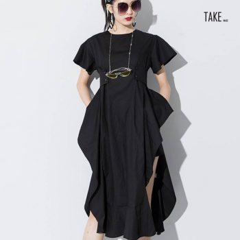 New Fashion Style Loose Ruffles Side Vent Loose Temperament Dress Fashion Nova Clothing TAKE IMAGE