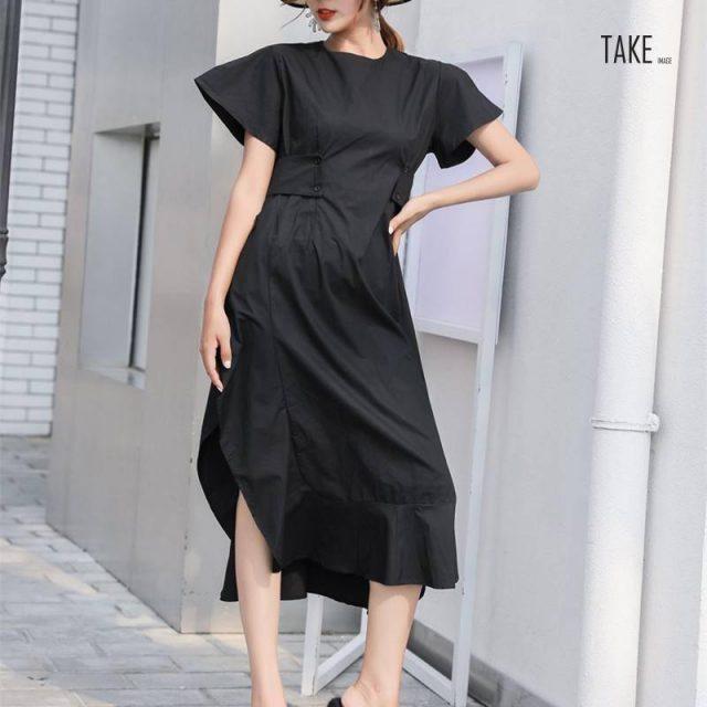 New Fashion Style Loose Ruffles Side Vent Loose Temperament Dress Fashion Nova Clothing TAKE IMAGE