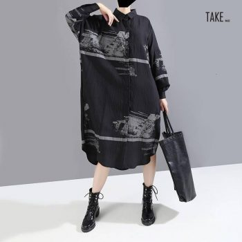 New Fashion Style Black Pattern Print Split Big Size Shirt Dress Fashion Nova Clothing TAKE IMAGE