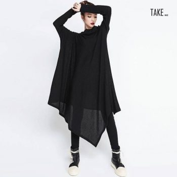 New Fashion Style Black Irregular Hem Loose Big Size Long Dress Fashion Nova Clothing TAKE IMAGE