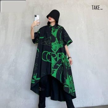 New Fashion style Black Printed Asymmetrical Big Size Shirt Dress Fashion Nova Clothing TAKE IMAGE