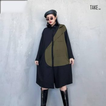New Fashion Style Green Contrast Color Big Size Shirt Dress Fashion Nova Clothing TAKE IMAGE