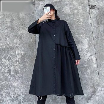 New Fashion Style Black Pleated Split Joint Shirt Dress Fashion Nova Clothing TAKE IMAGE
