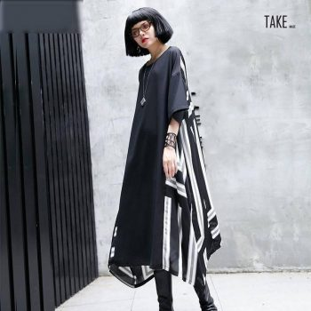 New Fashion Style Three-quarter Sleeve Black Back Striped Printed Irregular Hem Dress Fashion Nova Clothing TAKE IMAGE