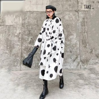 New Fashion Style Dot Printed Split Joint Big Size Shirt Dress Fashion Nova Clothing TAKE IMAGE