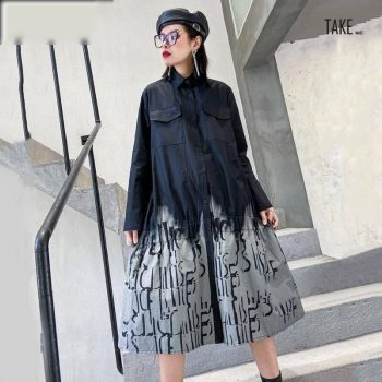 New Fashion Style Gray Printed Split Joint Big Size Shirt Dress Fashion Nova Clothing TAKE IMAGE