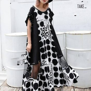 New Fashion Style Dot Splice Mesh Rivet Midi Dress Fashion Nova Clothing TAKE IMAGE