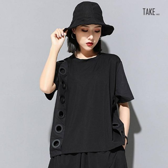 New Fashion Style Black Hollow Out Split Joint Big Size T-Shirt Blouse Fashion Nova Clothing TAKE IMAGE