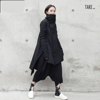 New Fashion Style Winter Stand Lead Irregular Long Type Cotton-padded Loose Coat Fashion Nova Clothing TAKE IMAGE