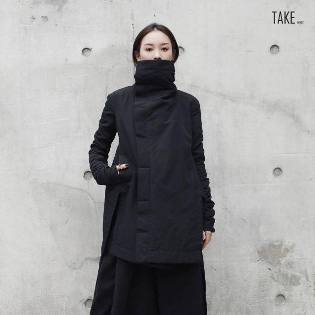 New Fashion Style Winter Stand Lead Irregular Long Type Cotton-padded Loose Coat Fashion Nova Clothing TAKE IMAGE