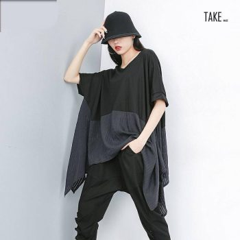New Fashion Style Back Hit Color Oversize Irregular Big Size T-Shirt Blouse TAKE IMAGE