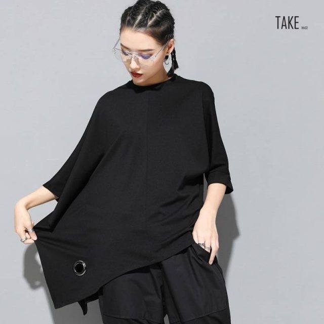 New Fashion Style Half Batwing Sleeve Black Loose Hollow Out Big Size T-shirt Blouse Fashion Nova Clothing TAKE IMAGE