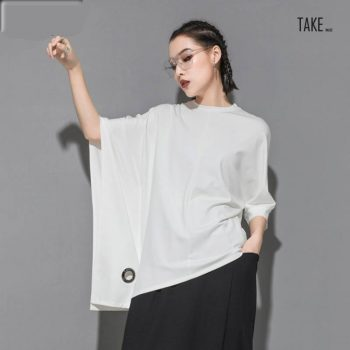 New Fashion Style Half Batwing Sleeve Black Loose Hollow Out Big Size T-shirt Blouse Fashion Nova Clothing TAKE IMAGE