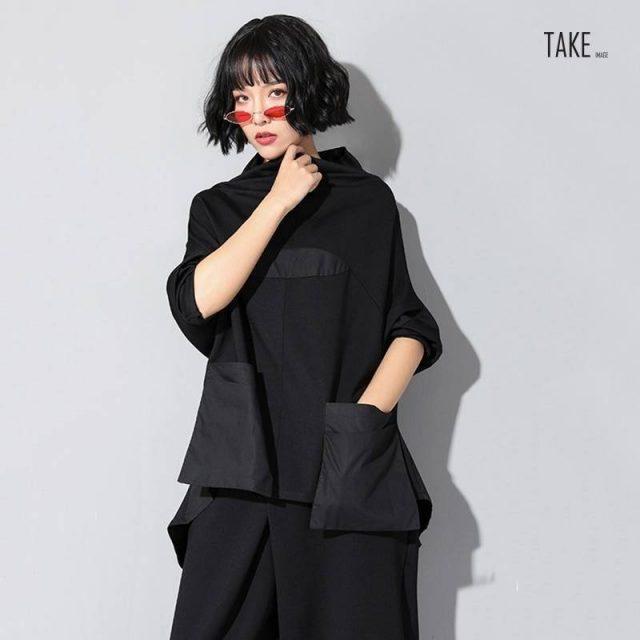 New Fashion Style Black Loose Pocket Stitch Irregular Hem Big Size T-Shirt Blouse Fashion Nova Clothing TAKE IMAGE