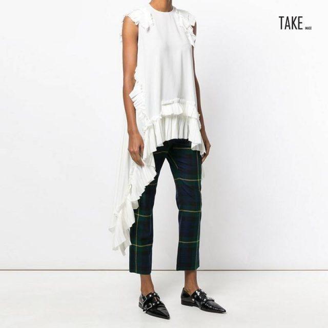 New Fashion Style Black Irregular Hem Pleated Loose Shirt Blouse Fashion Nova Clothing TAKE IMAGE