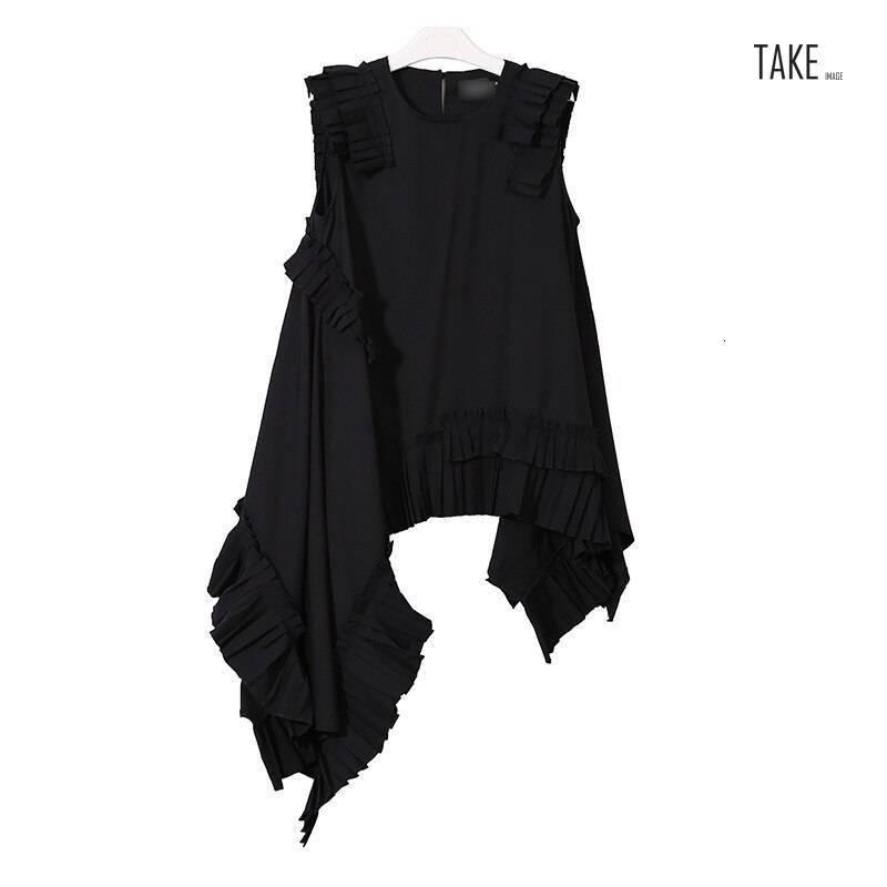 New Fashion Style Black Irregular Hem Pleated Loose Shirt Blouse Fashion Nova Clothing