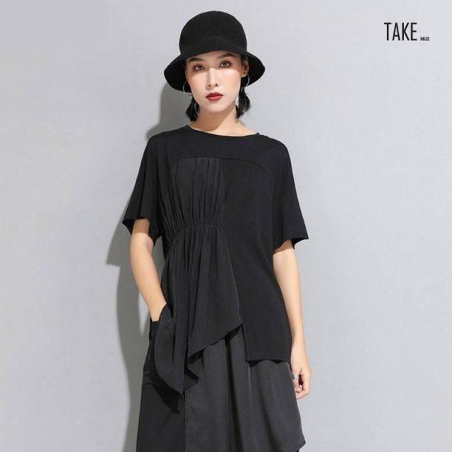 New Fashion Style Short Sleeve Black Pleated Split Joint Irregular Big Size T-Shirt Blouse Fashion Nova Clothing TAKE IMAGE