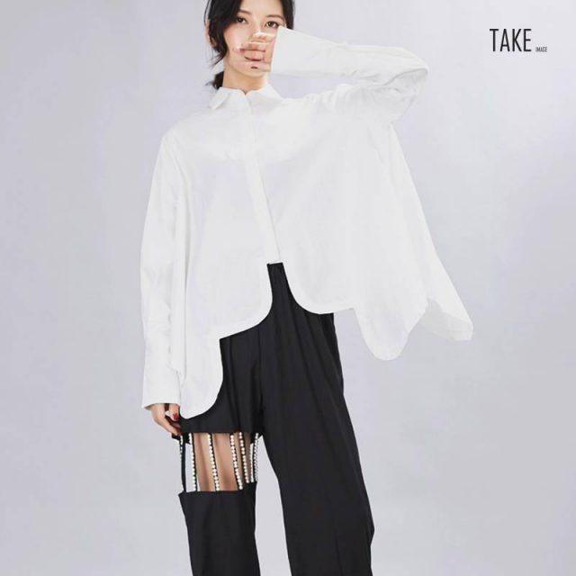 New Fashion Style Pleated Big Size Irregular Blouse Fashion Nova Clothing TAKE IMAGE