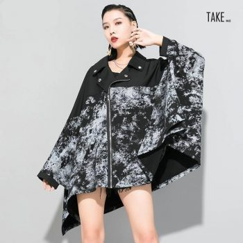 New Fashion Style Loose Fit Black Pattern Printed Big Size Jacket Blouse TAKE IMAGE