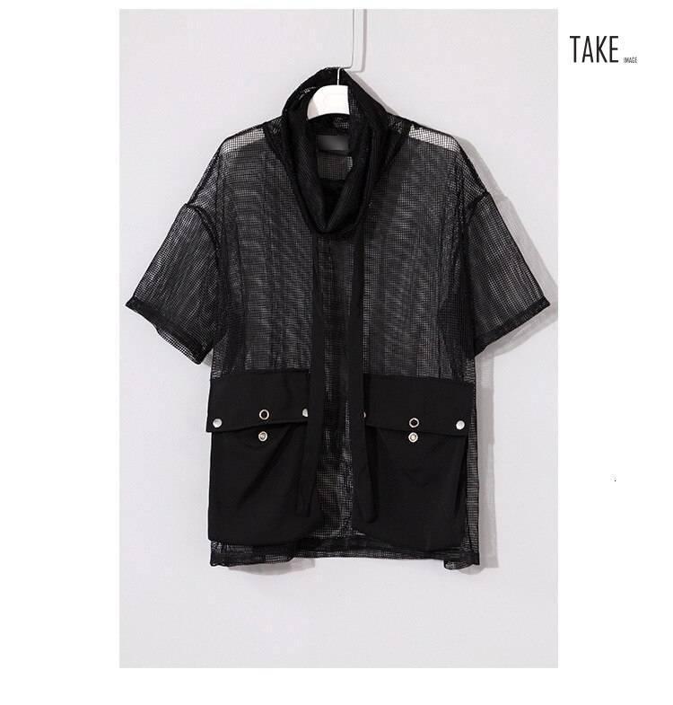 New Fashion Style Turtleneck Half Sleeve Big Pockets Mesh Bandage Button Perspective T-Shirt Fashion Nova Clothing