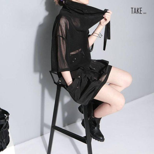 New Fashion Style Turtleneck Half Sleeve Big Pockets Mesh Bandage Button Perspective T-Shirt Fashion Nova Clothing TAKE IMAGE