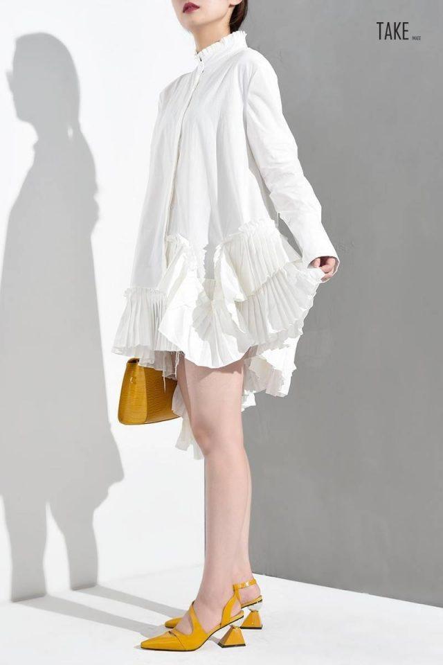 New Fashion Style White Irregular Hem Ruffles Loose Shirt Blouse Fashion Nova Clothing TAKE IMAGE