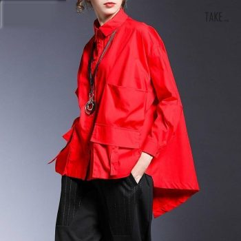 New Fashion Style Pocket Spliced Oversize Irregular Blouse Fashion Nova Clothing TAKE IMAGE