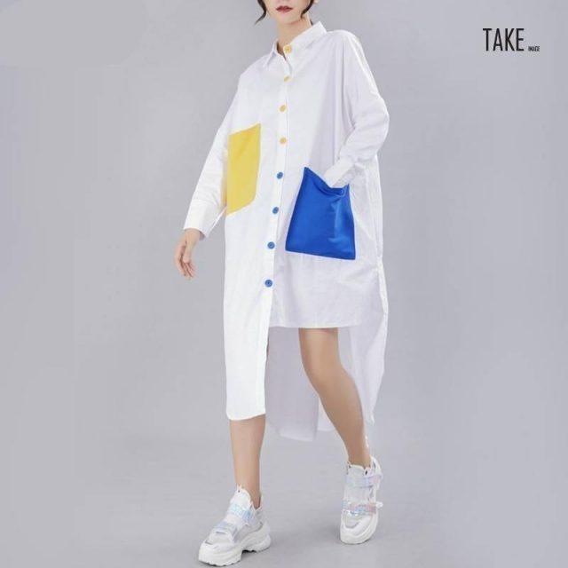 New Fashion Style Panelled Button Pocket Split Loose Big Size Shirt Blouse Fashion Nova CLothing TAKE IMAGE