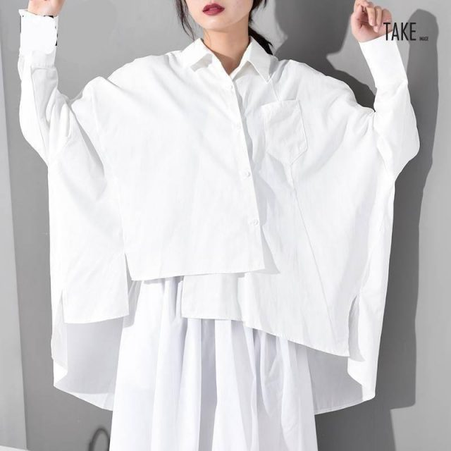 New Fashion Style White Loose Irregular Hem Over Size Shirt Fashion Nova Clothing TAKE IMAGE