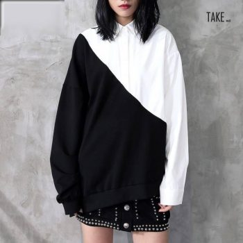 New Fashion Style Black White Hit Color Irregular Loose Big Size Shirt Blouse Fashion Nova Clothing TAKE IMAGE