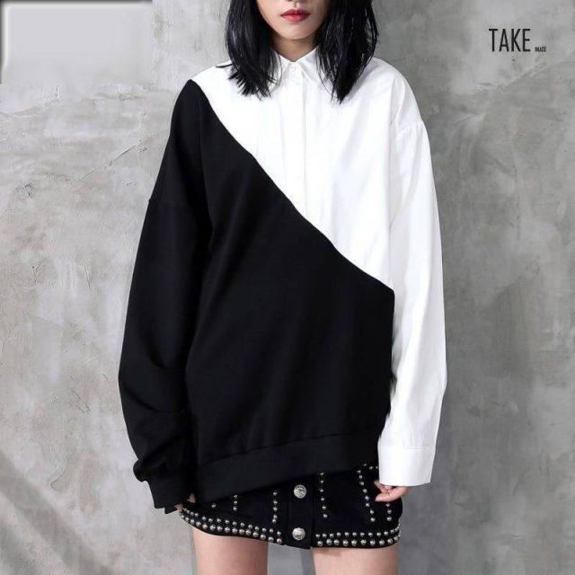 New Fashion Style Black White Hit Color Irregular Loose Big Size Shirt Blouse Fashion Nova Clothing TAKE IMAGE