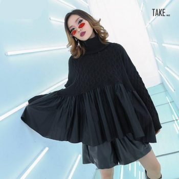 New Fashion Style Black Pleated Big Size Knitting Sweater Fashion Nova Clothing TAKE IMAGE