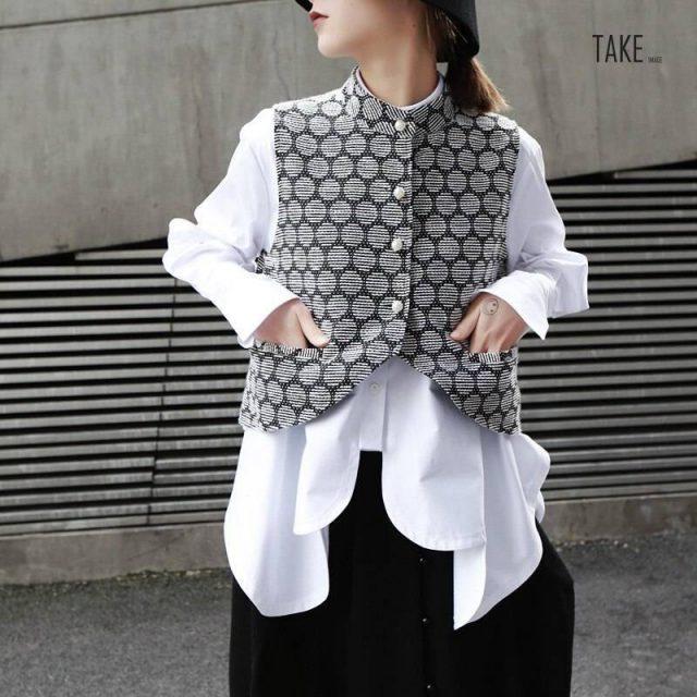 New Fashion Style White Irregular Hem Cut Stitch Irregular Big Size Shirt Blouse Fashion Nova Clothing TAKE IMAGE